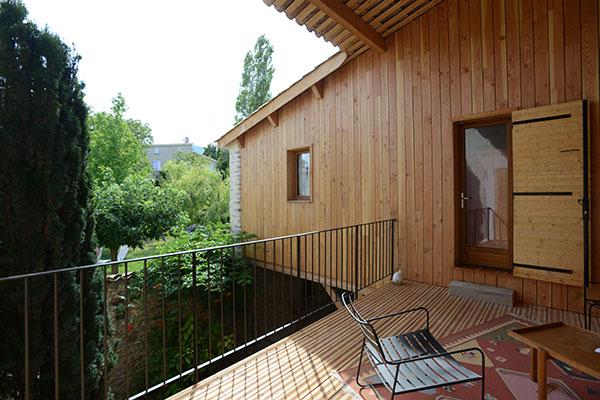 architecte, Sisteron, terrasse suspendue en bois