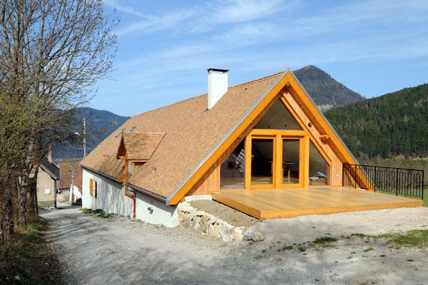 Projet d' architecte Pignon vitré en triple vitrage