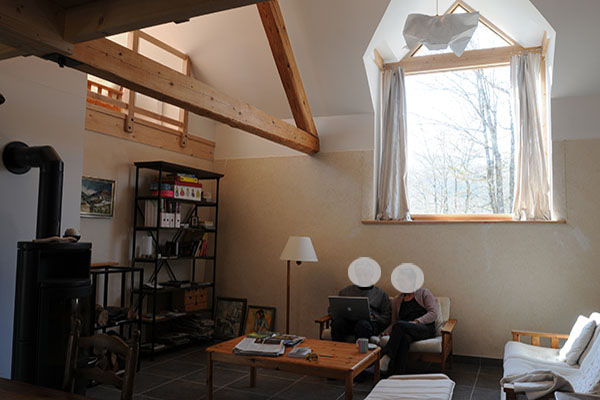 Architecte Grenoble modification d'une charpente bois garde corps vitré